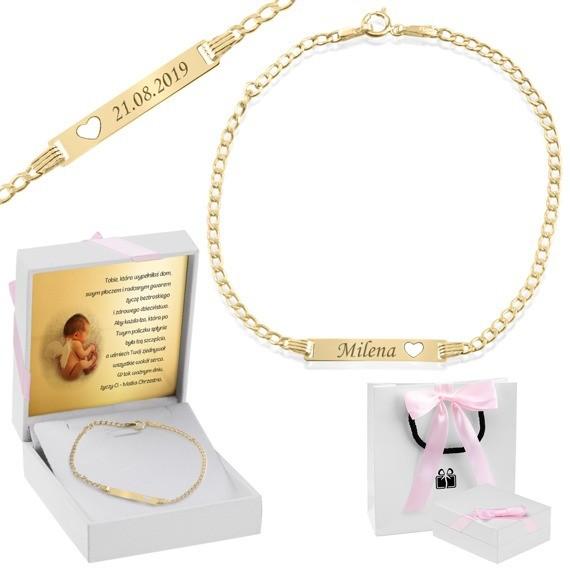 Zlota bransoletka dedykacja Z ota bransoletka z personalizacj idealny upominek na Chrzciny lub na Pierwsz Komuni dla dziewczynki